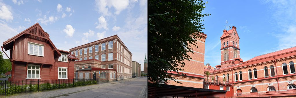 Bilder på byggnader på Åvägen 17 respektive Saluhall Briggen