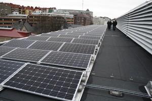 Solcellsanläggningen på taket