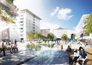 Visionsbild för Rymdtorget av Nyréns Arkitekter