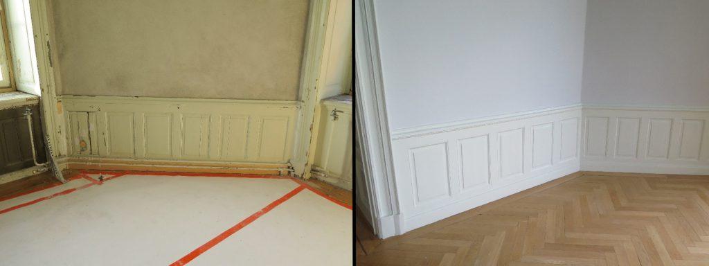 Detaljbilder på väggpanel före och efter renoveringen av  tornrummen