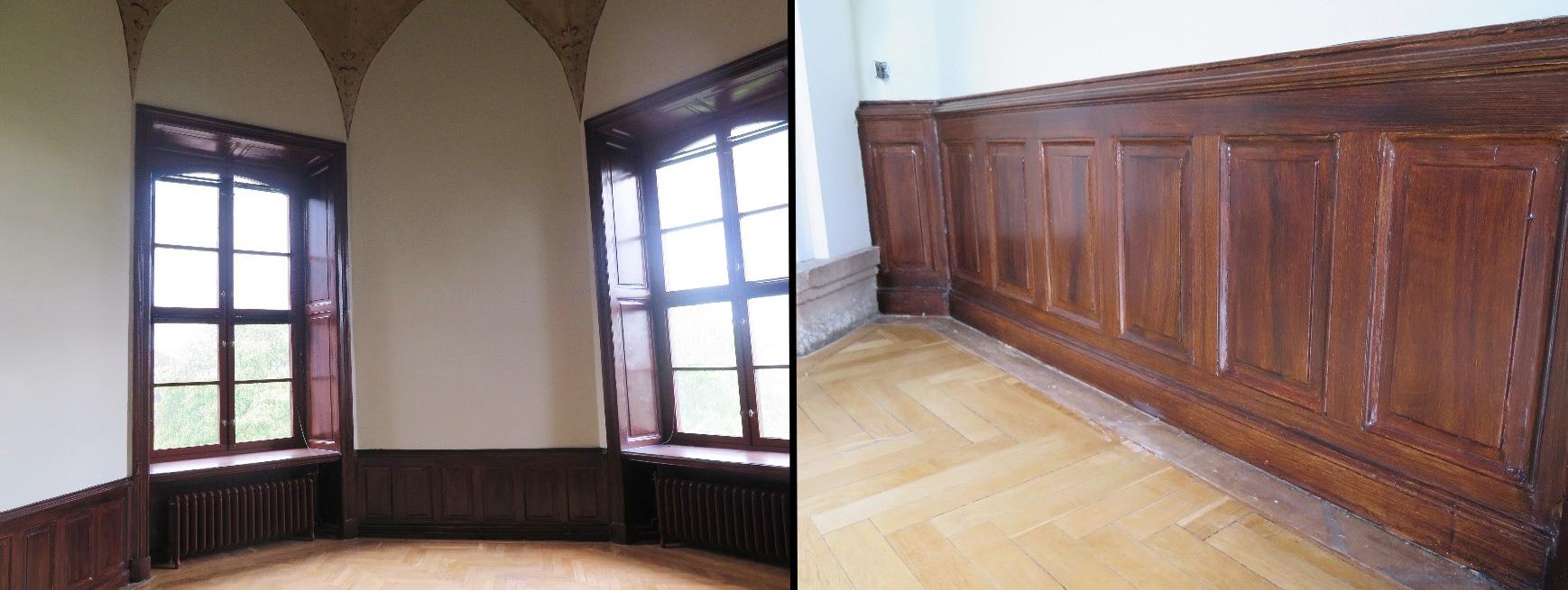 Bilder på fönsterrum och väggpanel i Östra Tornrummet efter renoveringen