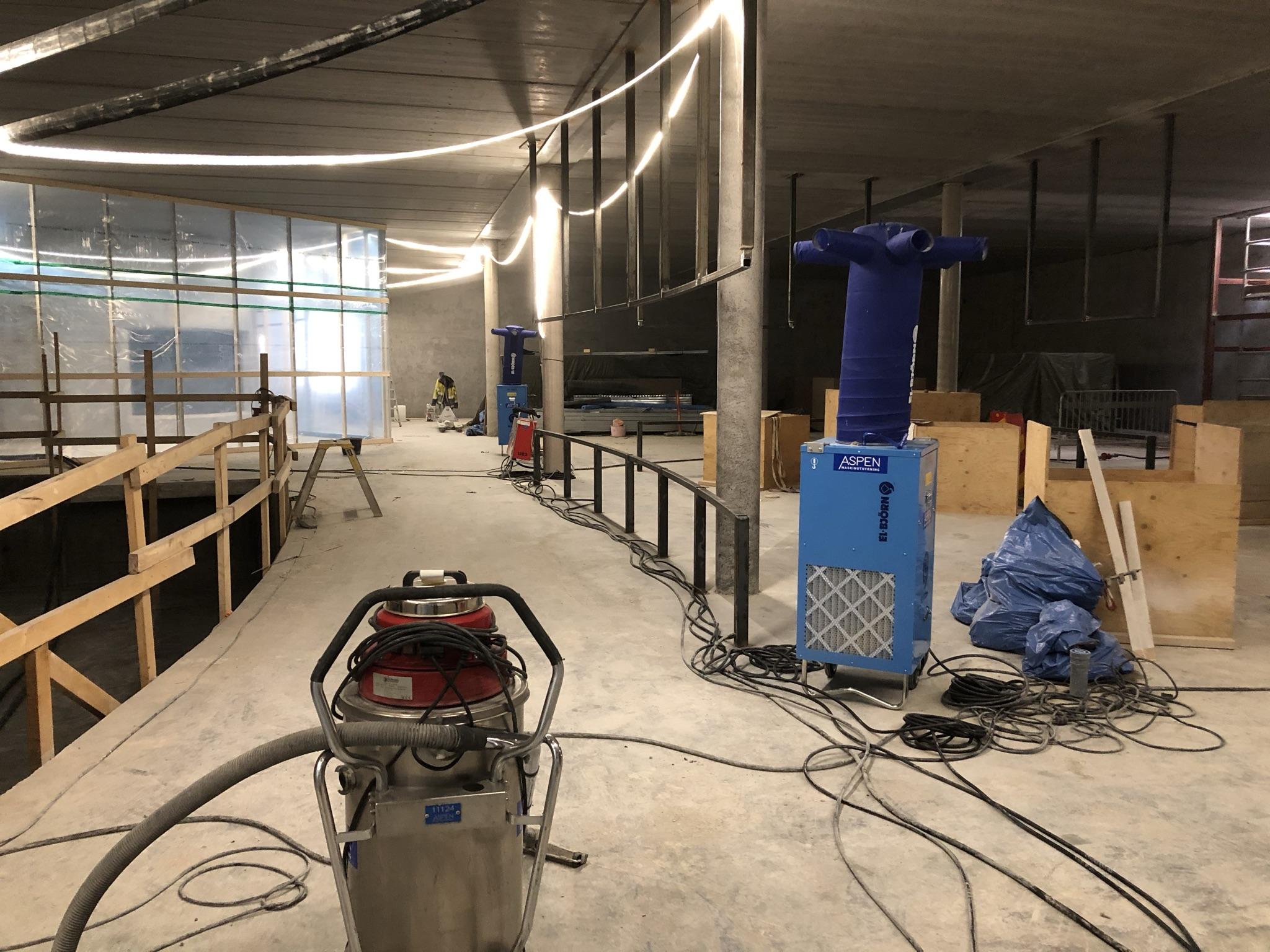 Byggarbetsplats inne i Sjöfartsmuseet