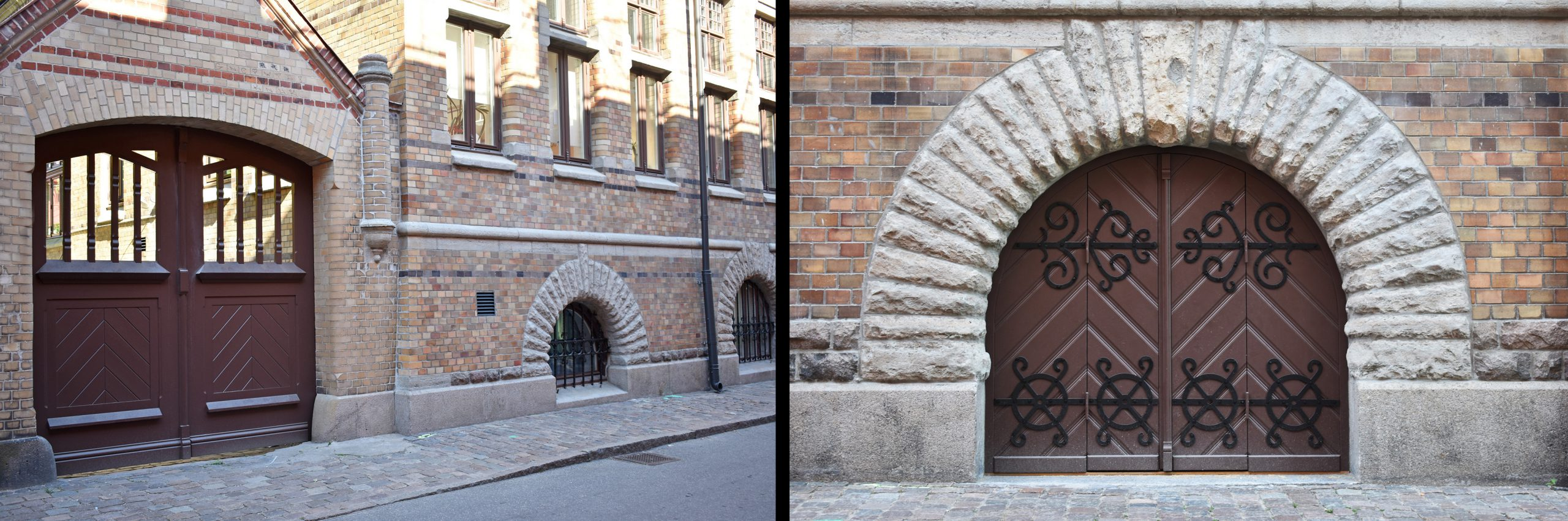 Nya trädörrar på utsidan av Allégården. De har utformats likt originaldörrarna.