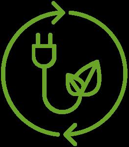 En tecknad cirkel med pilar och en kontakt i.