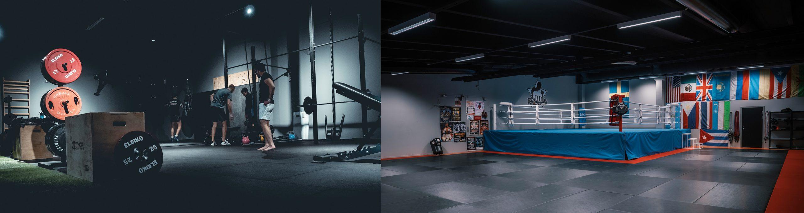 Två bilder inifrån ett gym. Till vänster syns vikter och människor och till höger syns en boxningsring.