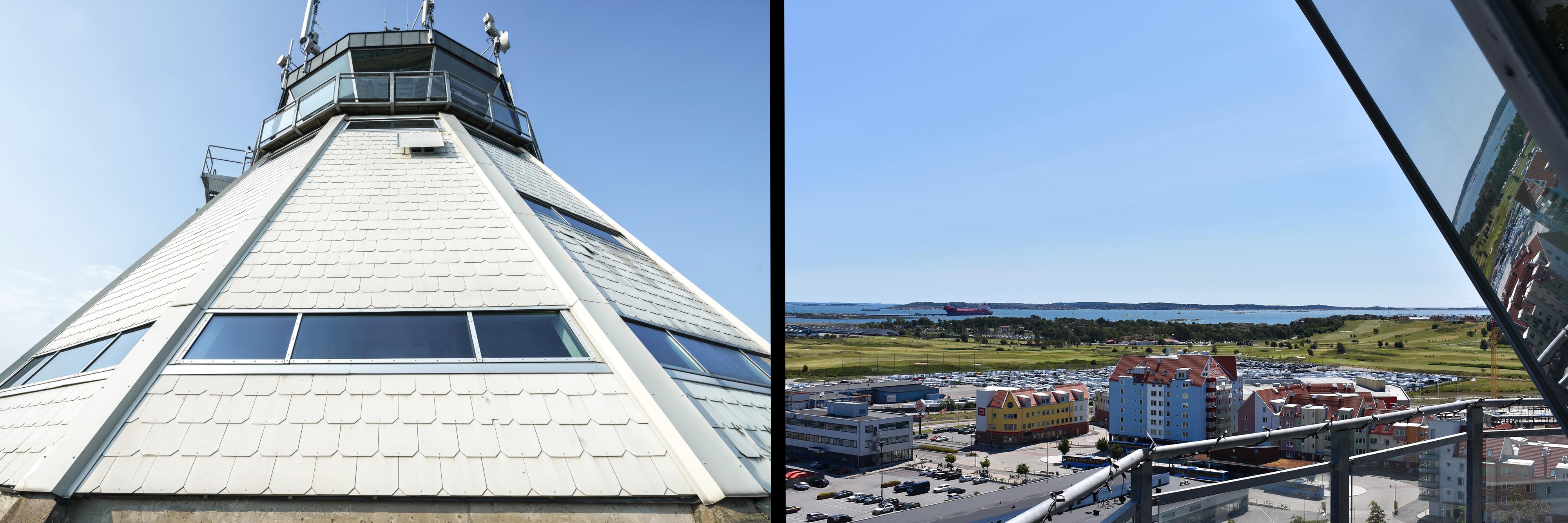 Detaljbild på Flygledartornet och bild på utsikten nedanför tornet