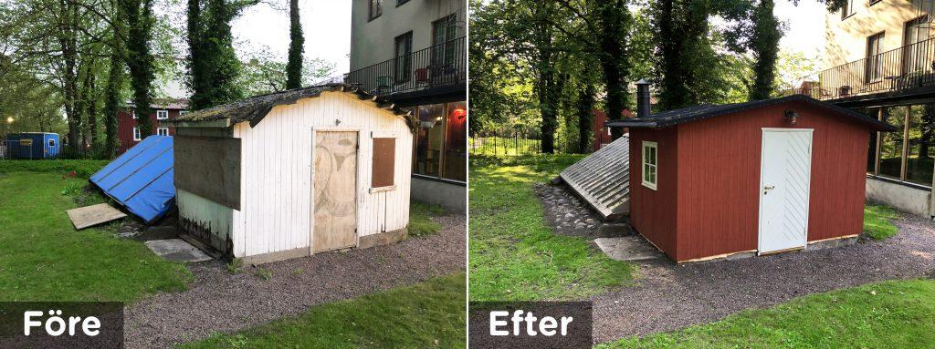 En före- och efterbild på ett växthus som har återuppbyggts.