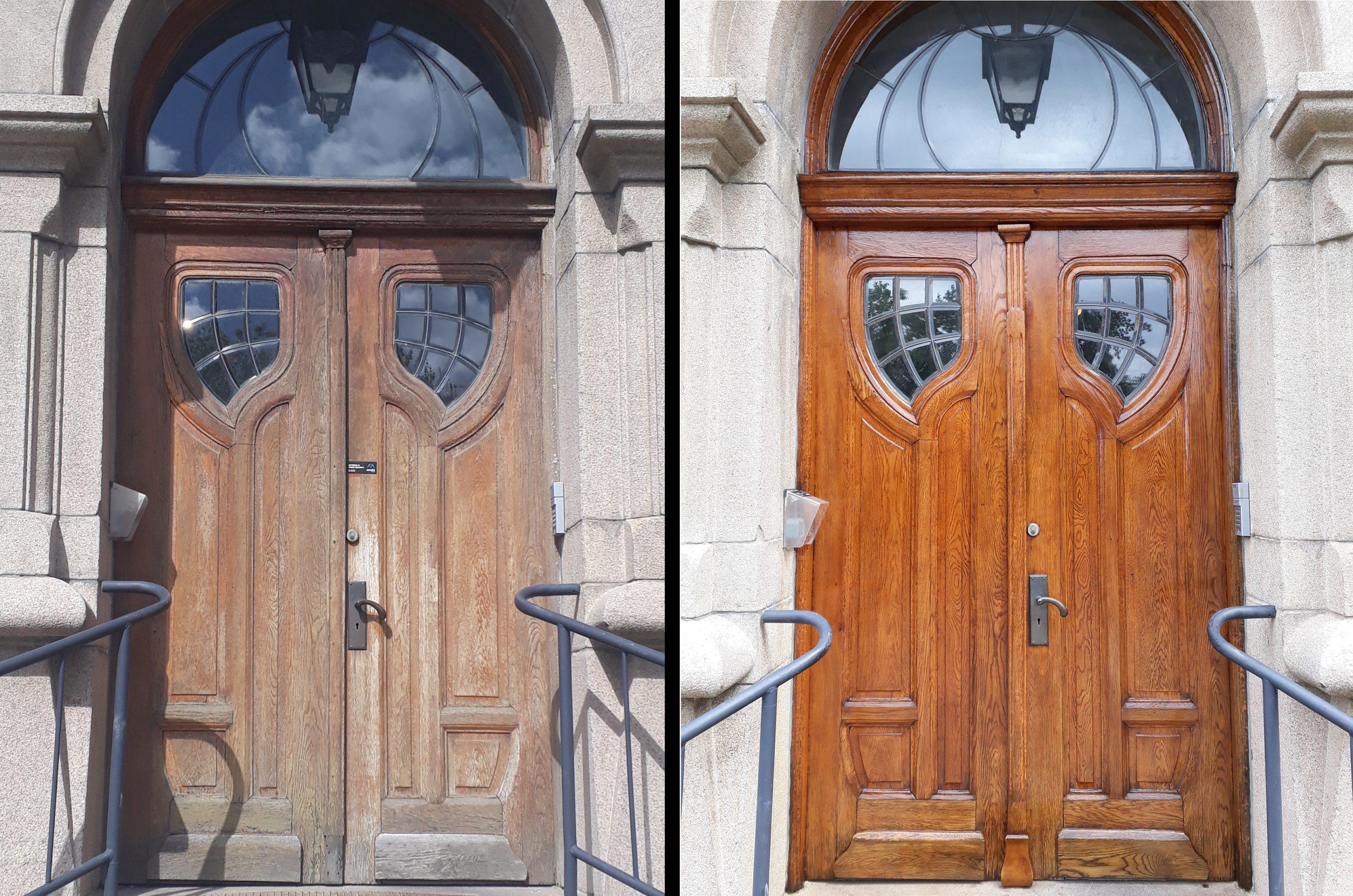 Före och efter restaurering av ekdörrar på Hälsovetarbacken