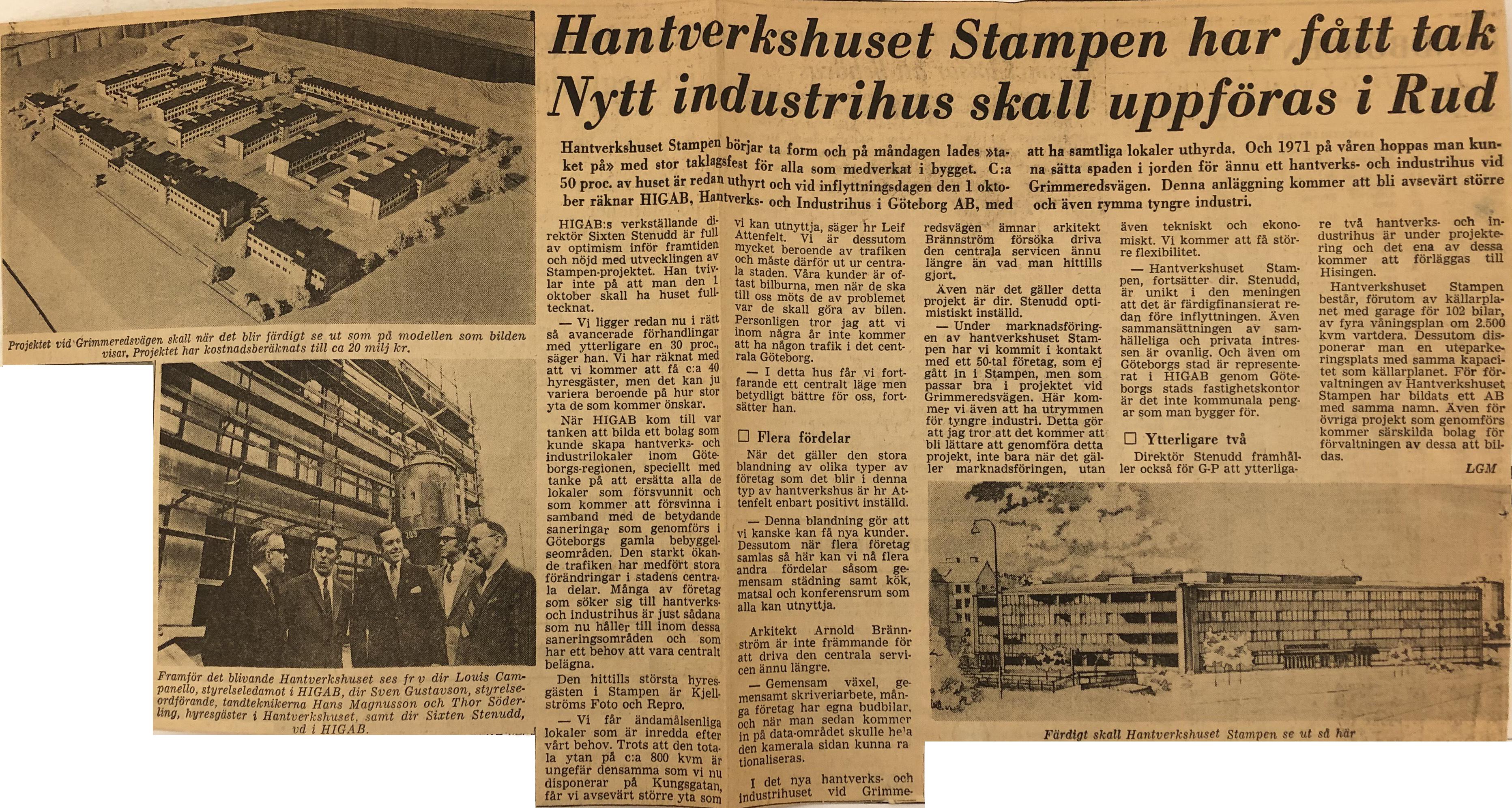 Tidningsklipp ur Göteborgs-Posten 1968 med rubriken Hantverkshuset Stampen har fått tak
