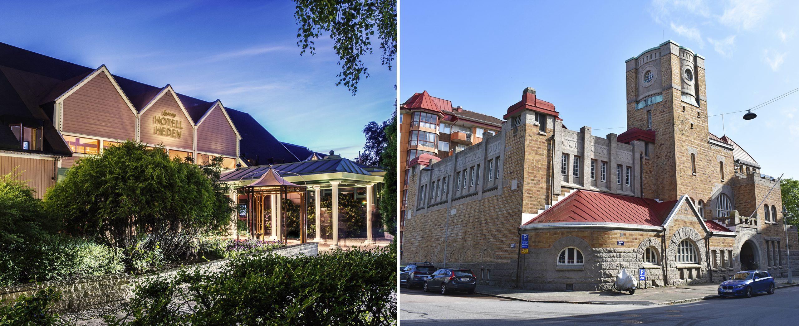 Exteriörbilder på den rosa träbyggnaden Hotell Liseberg Heden och det före detta elverket Elyseum