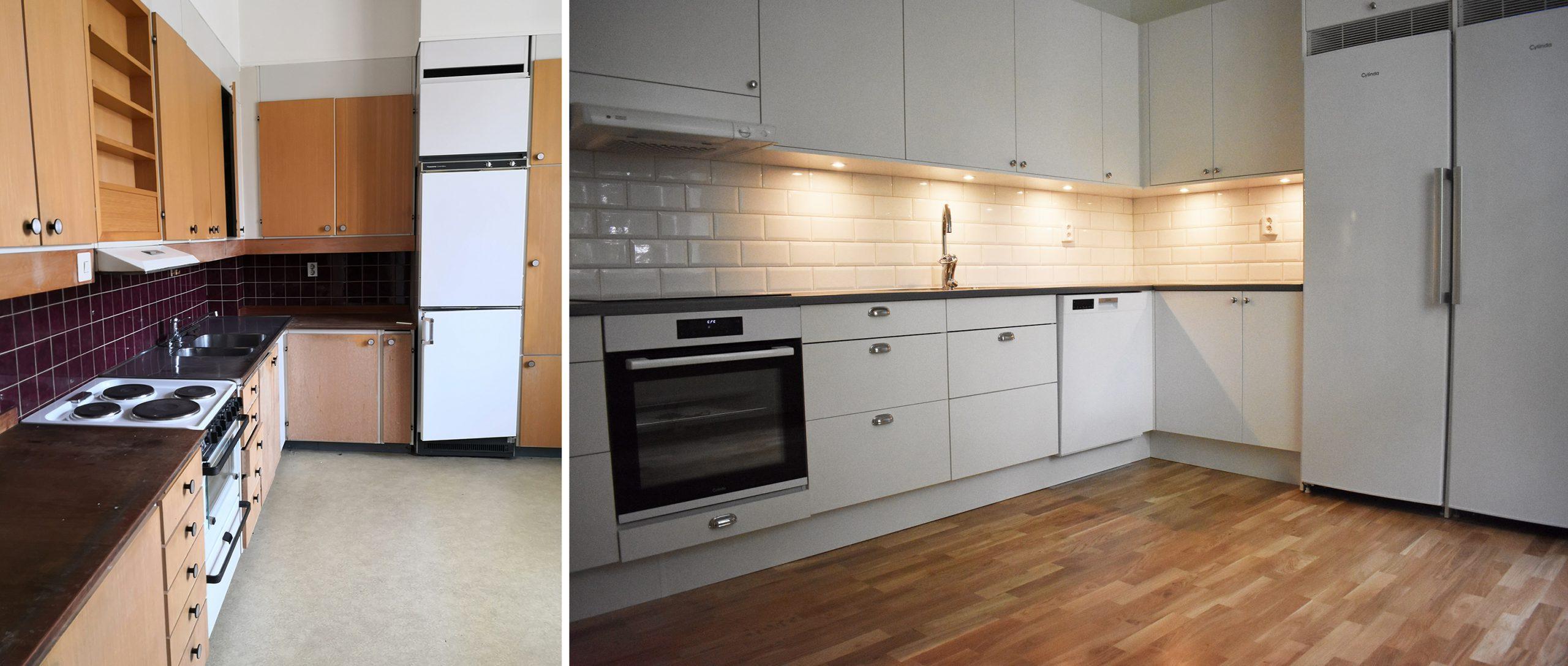 Kök före och efter renovering.