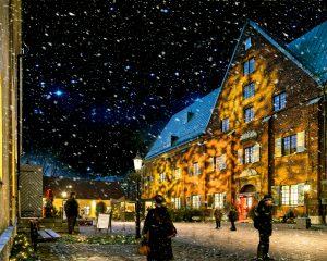 Snöfall över Kronhuset och Kronhusgården
