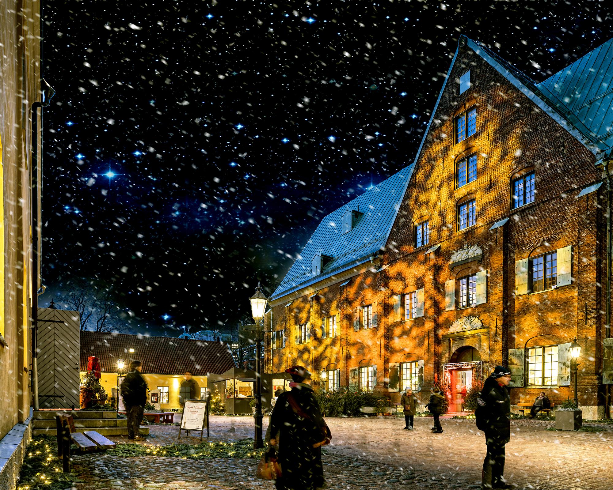 Snöfall över Kronhusgården och Kronhuset