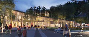 Visionsbild av Kulturhus Bergsjön och stråket mot huvudentrén med människor i rörelse