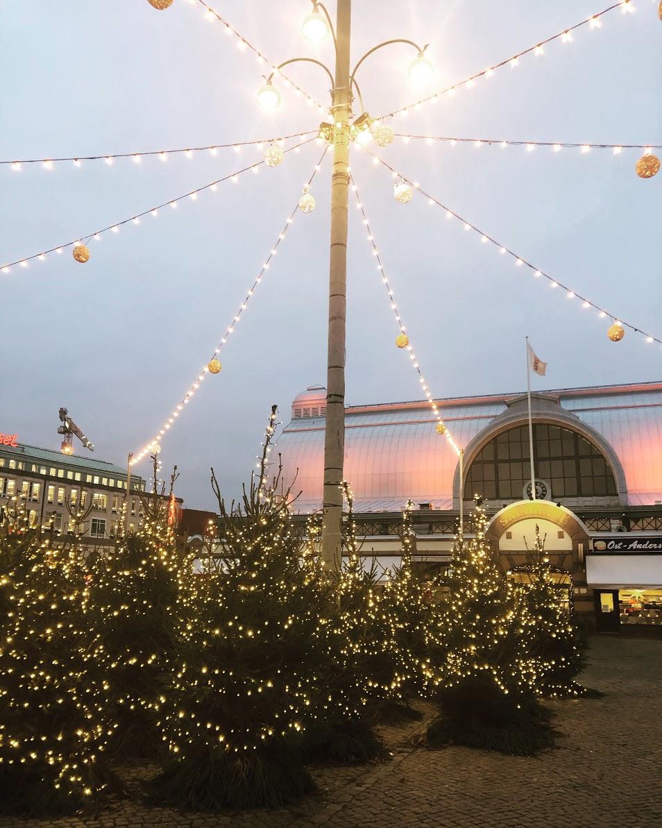 Julbelysning och julgranar utanför Saluhallen.