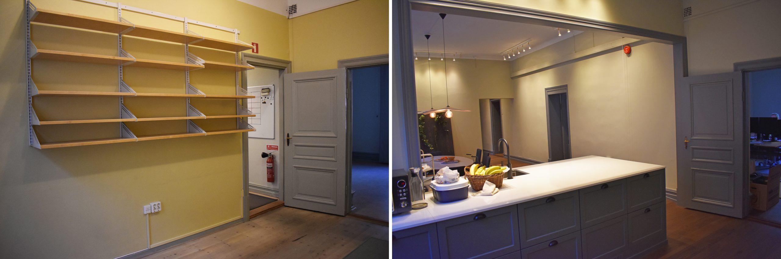 Före- och efterbild. En vägg har tagits ner för att öppna upp och göra plats för ett nytt kök.