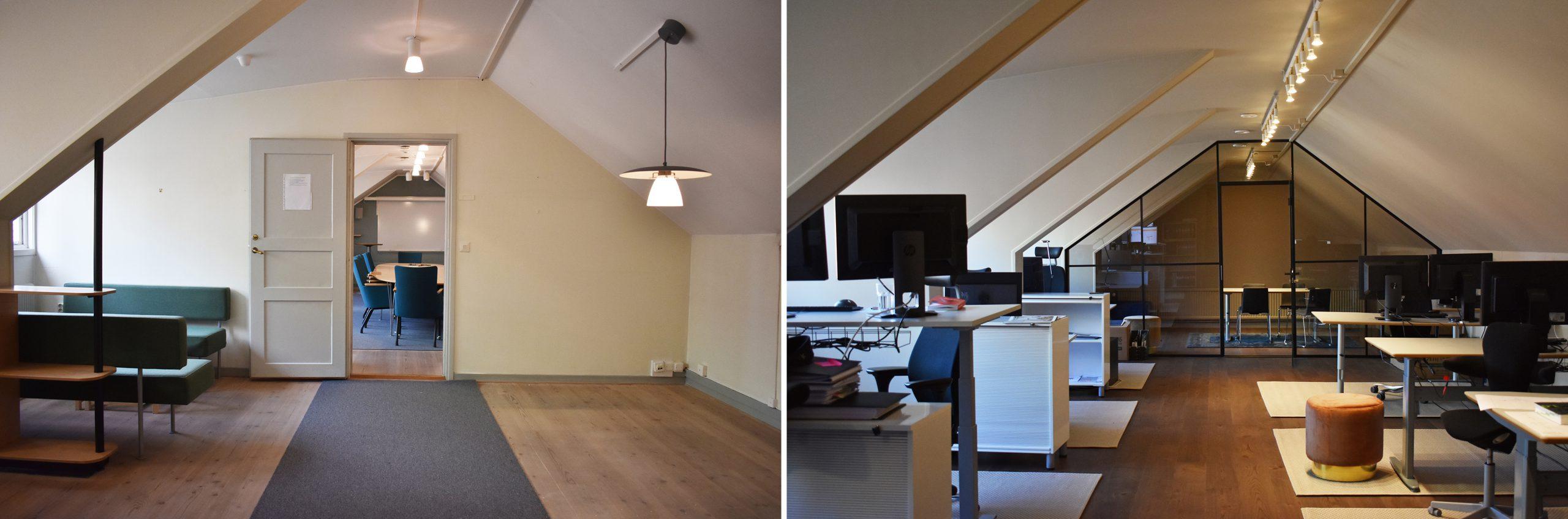 Före- och efterbild. Ett konferensrum med tillhörande rum har gjorts om till en kontorsdel.