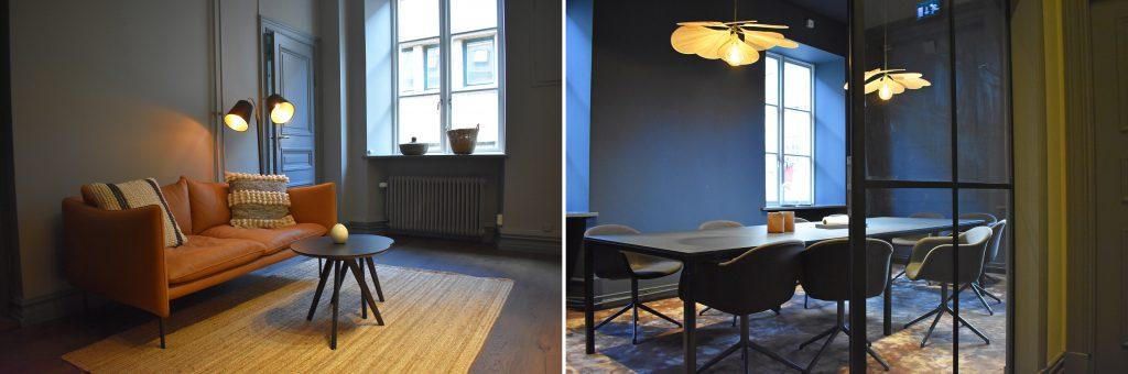 En bild på ett rum med soffa och soffbord och en bild på ett konferensrum.