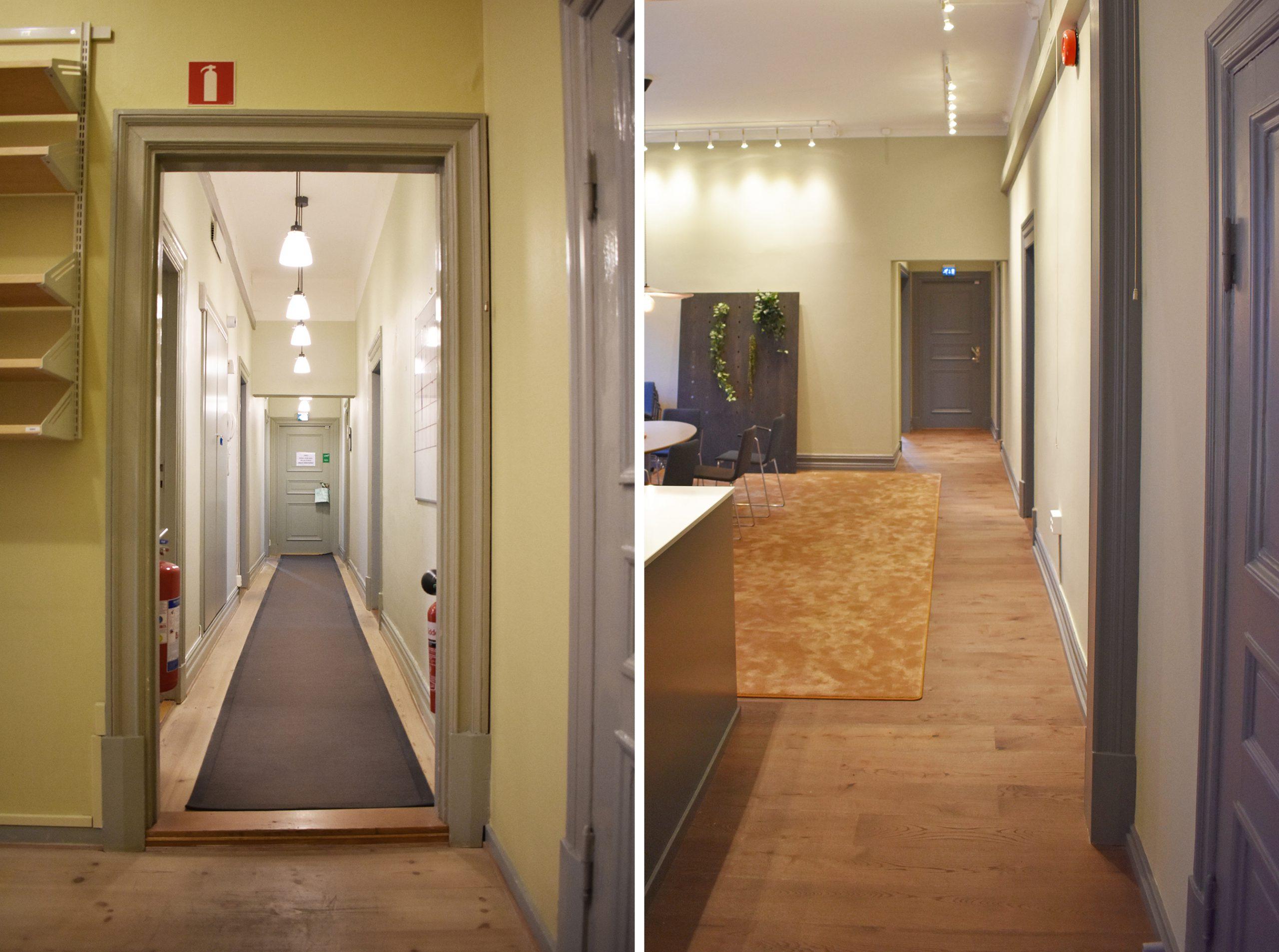 Före- och efterbild. Till vänster syns en lång korridor. Den har försvunnit på bilden till höger.