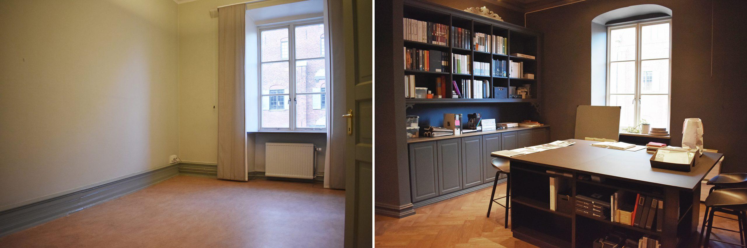 Före- och efterbild. Bilden till vänster visar ett tomt gulmålat rum med plastmatta. Bilden till höger visar ett mörkmålat rum med trägolv och en biblioteksdel.