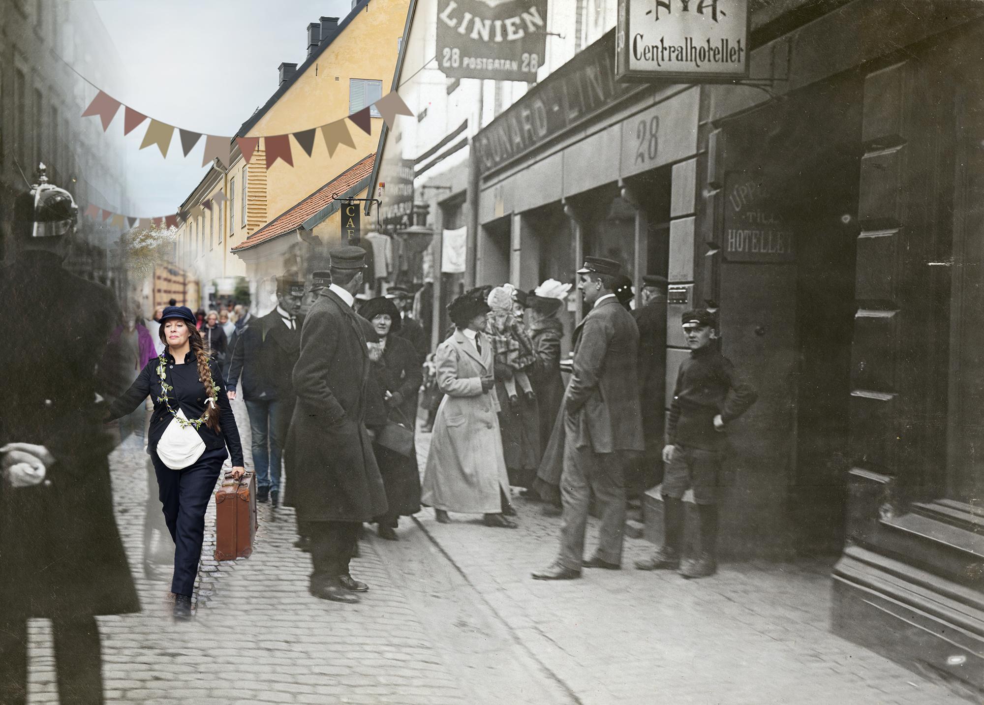 Fotomontage av folk i rörelse längs Postgatan under olika tidsperioder.