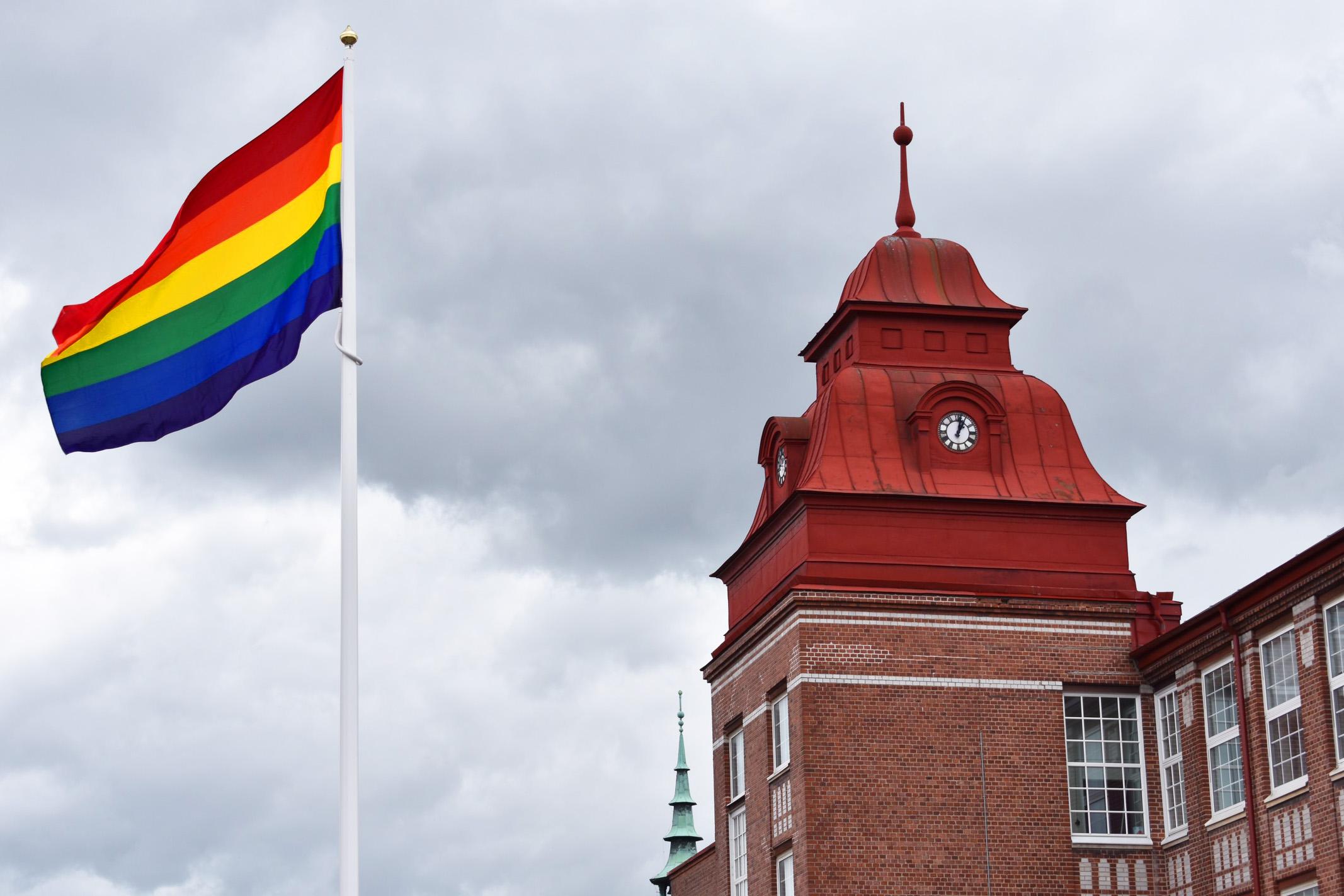 Regnbågsflagga som vajar i vinden
