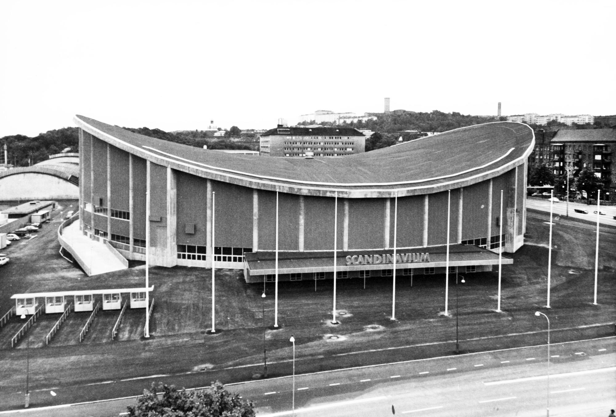Framsidan av arenan Scandinavium på 1970-talet.