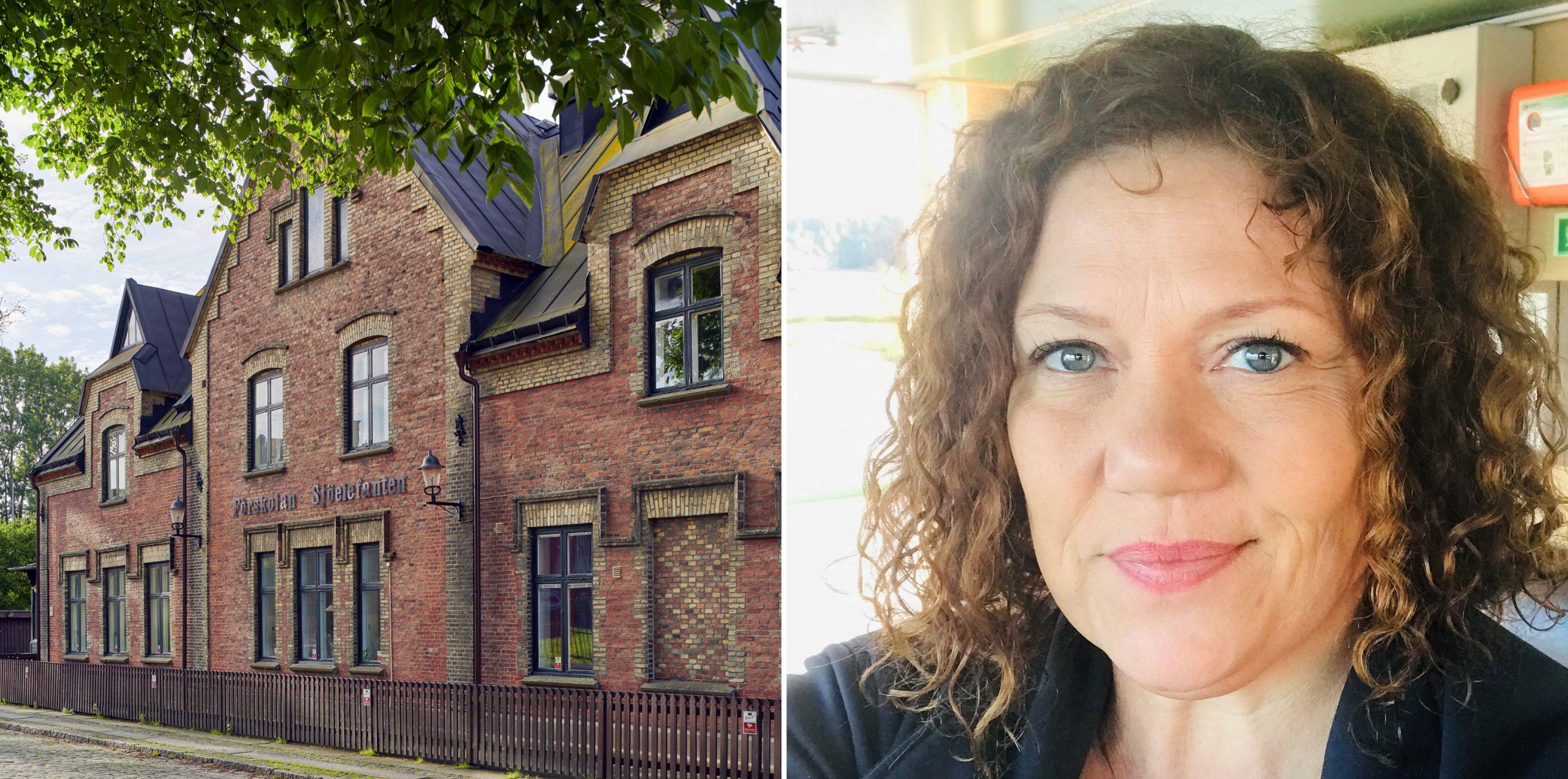 Två bilder i en Till vänster syns ett gammal skolhus i tegel och till höger är en bild på Malin Morgontimma.