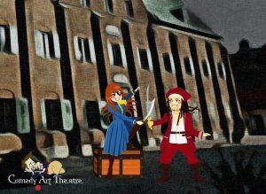 Marknadsföringsbild för barnteatern Skattens hemlighet