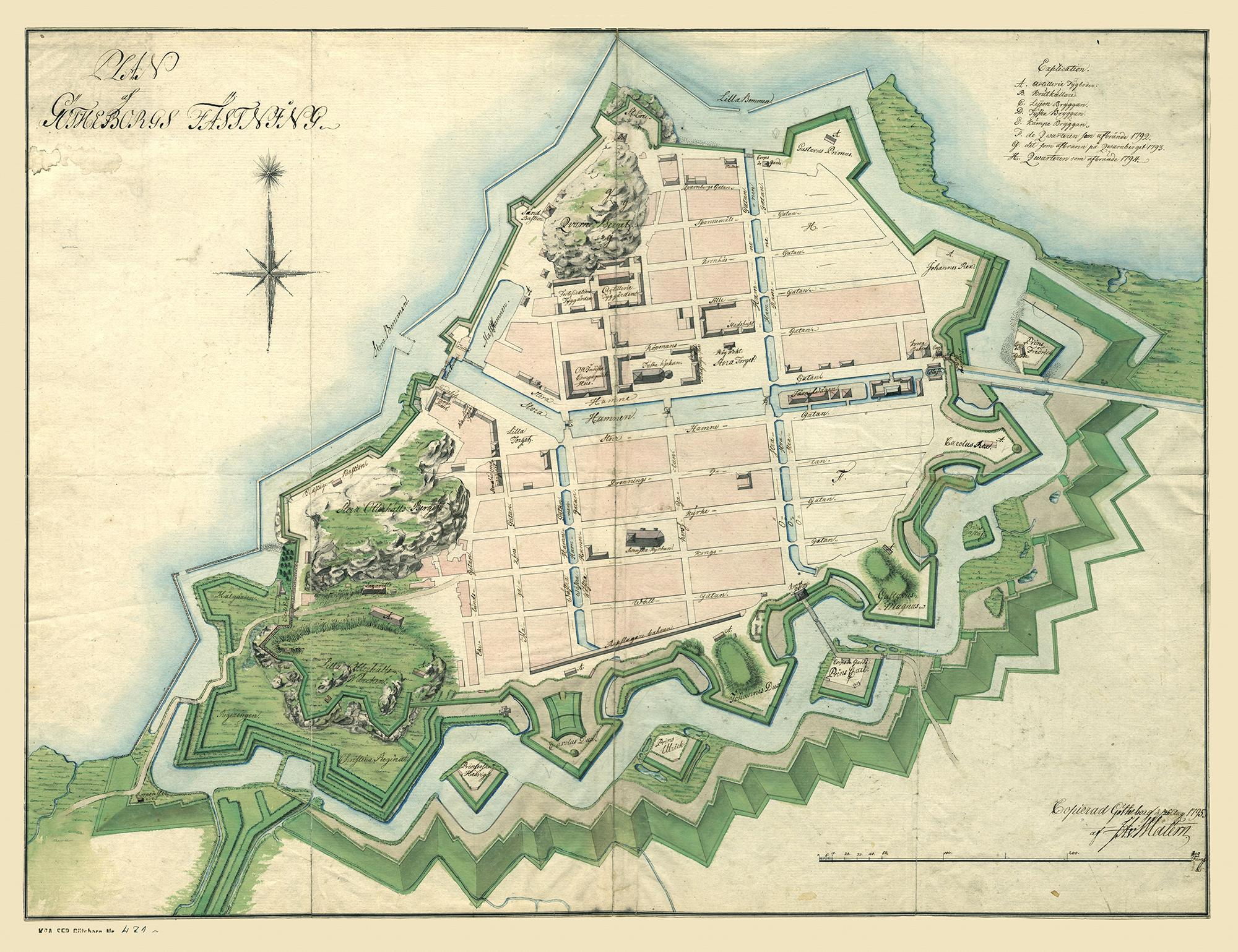 Karta av Göteborgs stadsfästning från 1795.