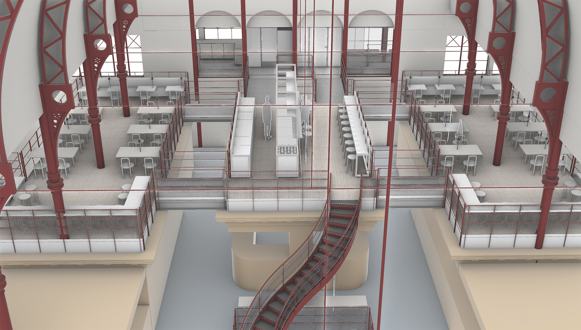 Visionsbild av den nya restauranglokalen i Stora Saluhallen
