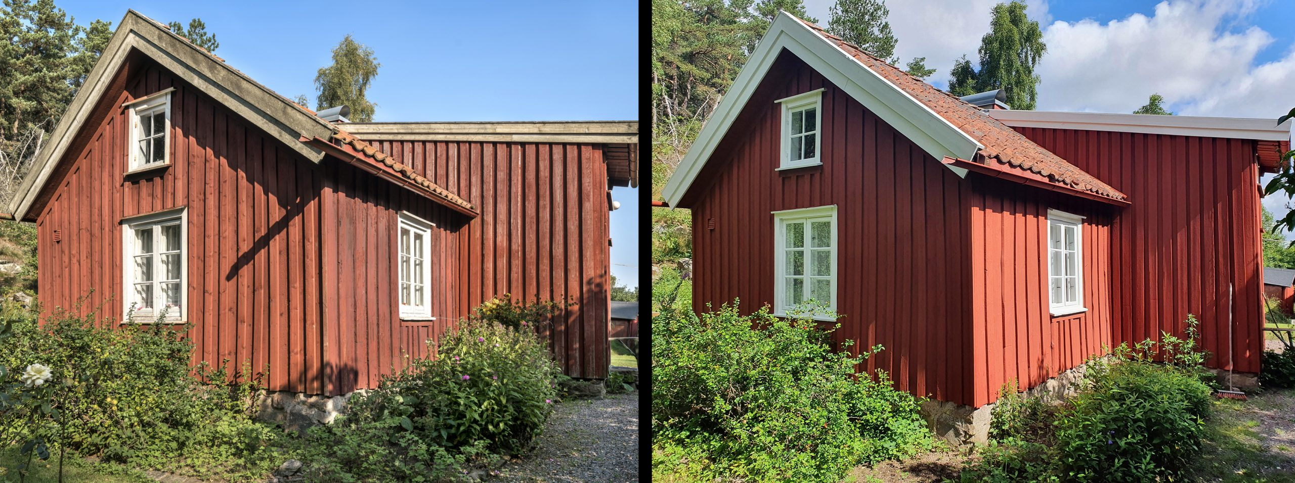Före och efter renoveringen av Torpet Klara