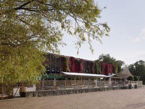 Baksidan av träbyggnaden Restaurang Trädgårn