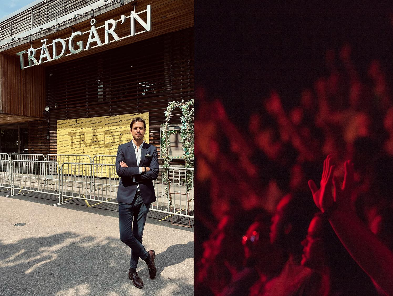 Daniel Tervaniemi står utanför entrén till Trädgår'n. Till höger syns en publikbild.