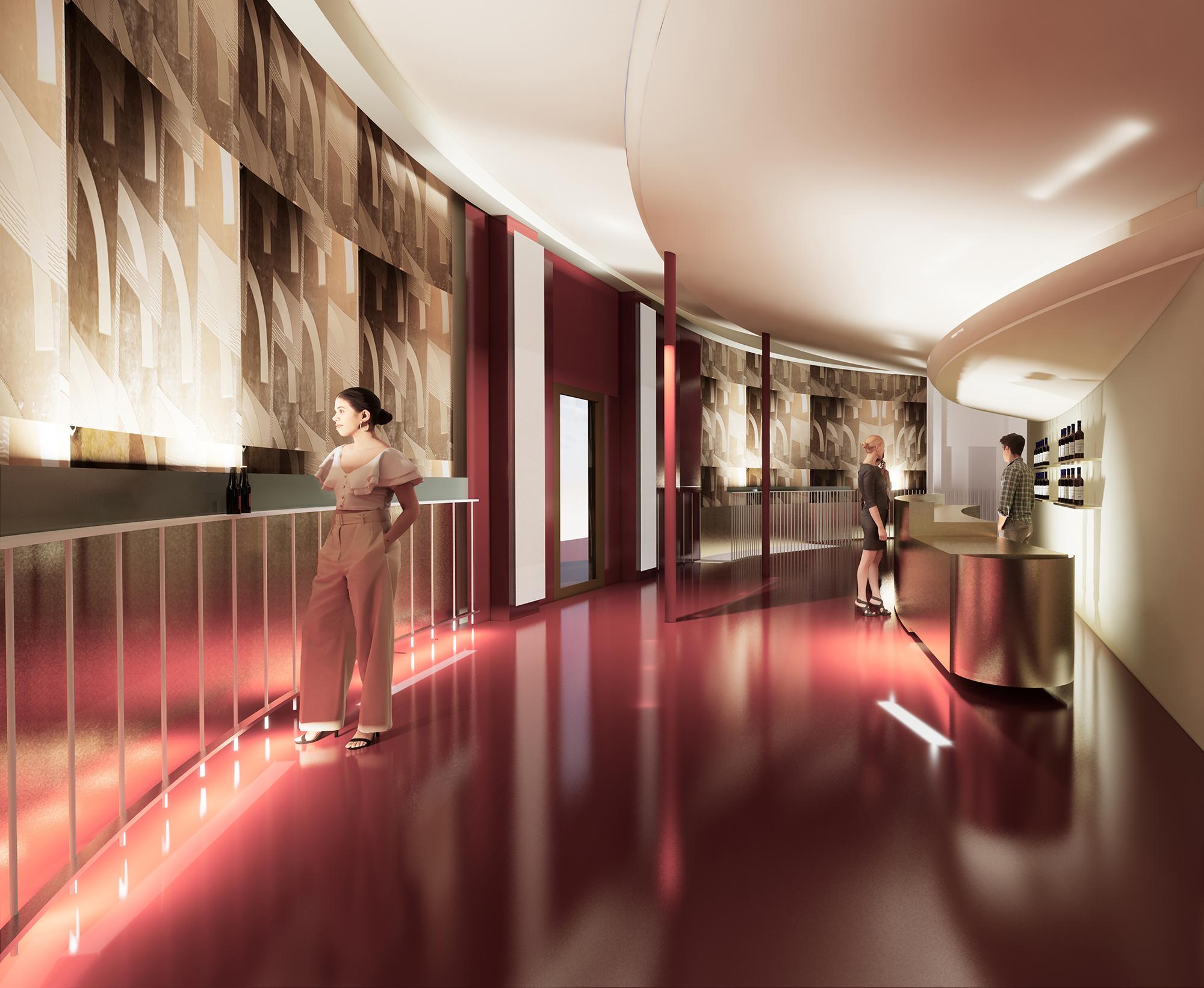 Visionsbild av bar och korridor på Stadsteatern.