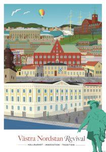 Affisch om Västra Nordstan Revival. På bilden syns tecknade hus i stadsdelen Västra Nordstan.