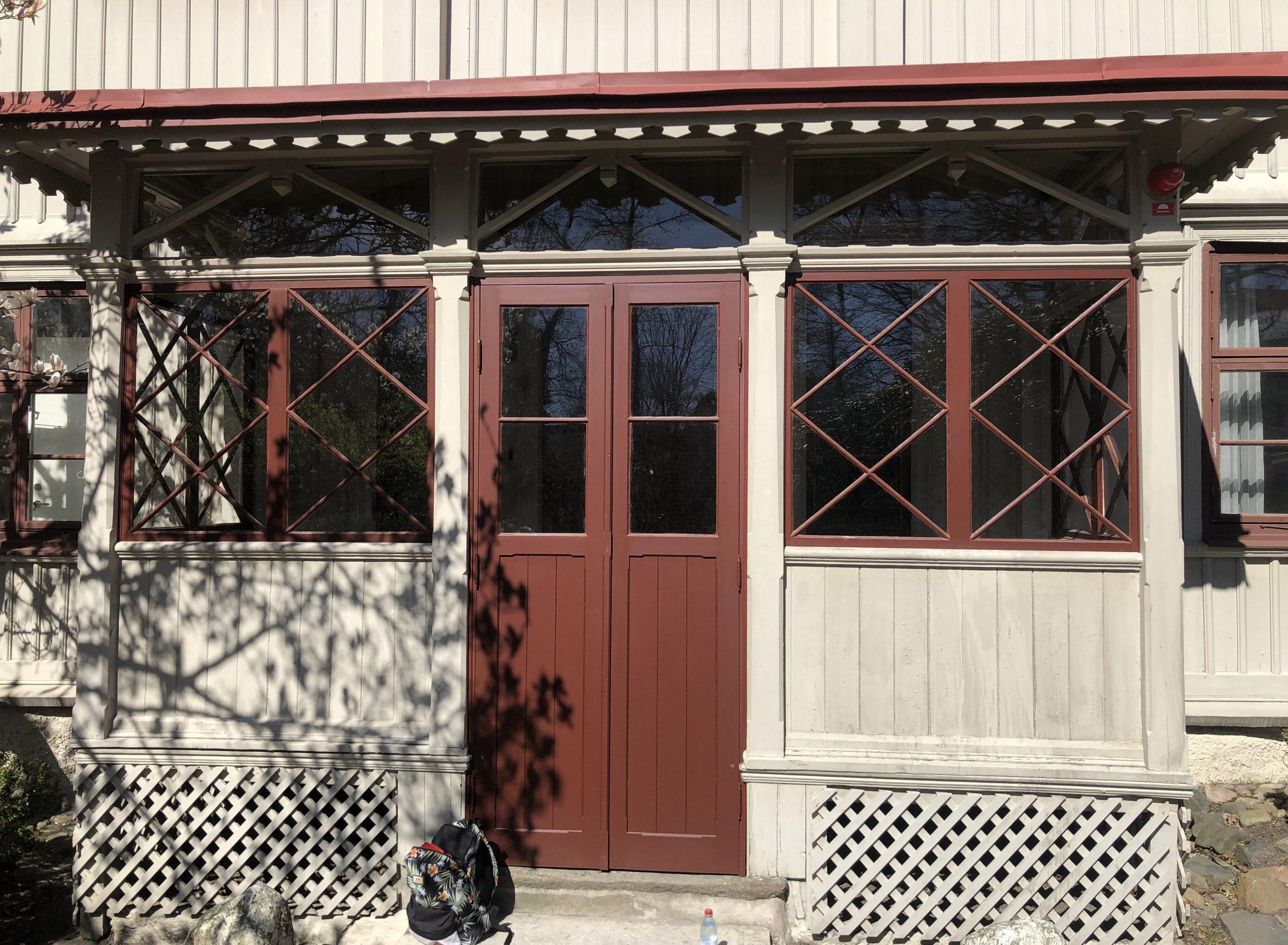 Gathenhielmska Husets veranda som har glasats in