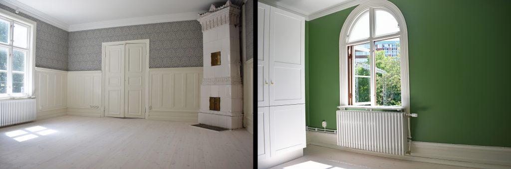 Insidan av Villa Majviken. Till vänster syns ett stort rum med kakelugn och till höger syns ett grönmålat mindre rum.