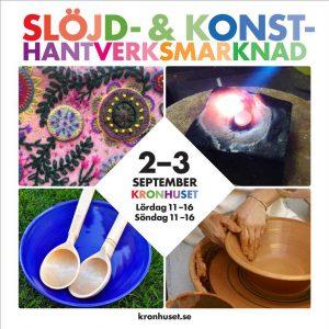 Affisch till Slöjd- och konsthantverksmarknad med öppettider.