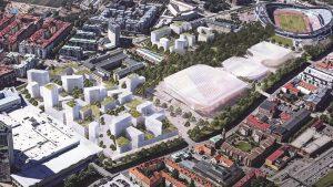Skiss och översiktsbild av evenemangsområdet i Göteborg där nya arenor kan komma att placeras