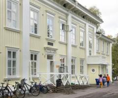 Barn springer framför Bö Herrgård.