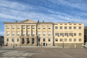 Rådhusets entréfasad på Gustaf Adolfs Torg