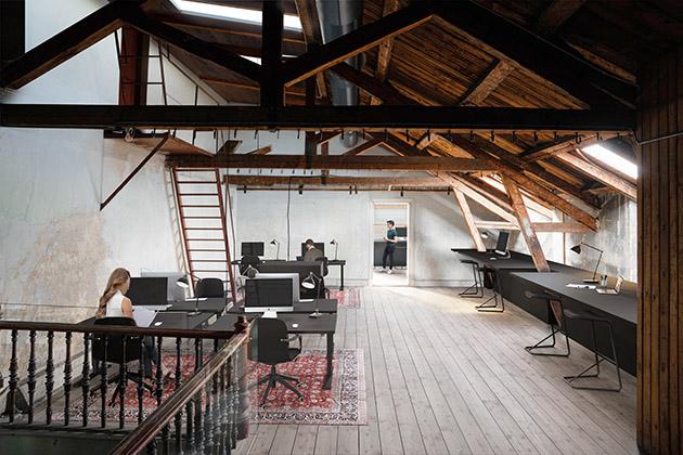 Visionsbild av kontorsmiljö i vindsvåningen
