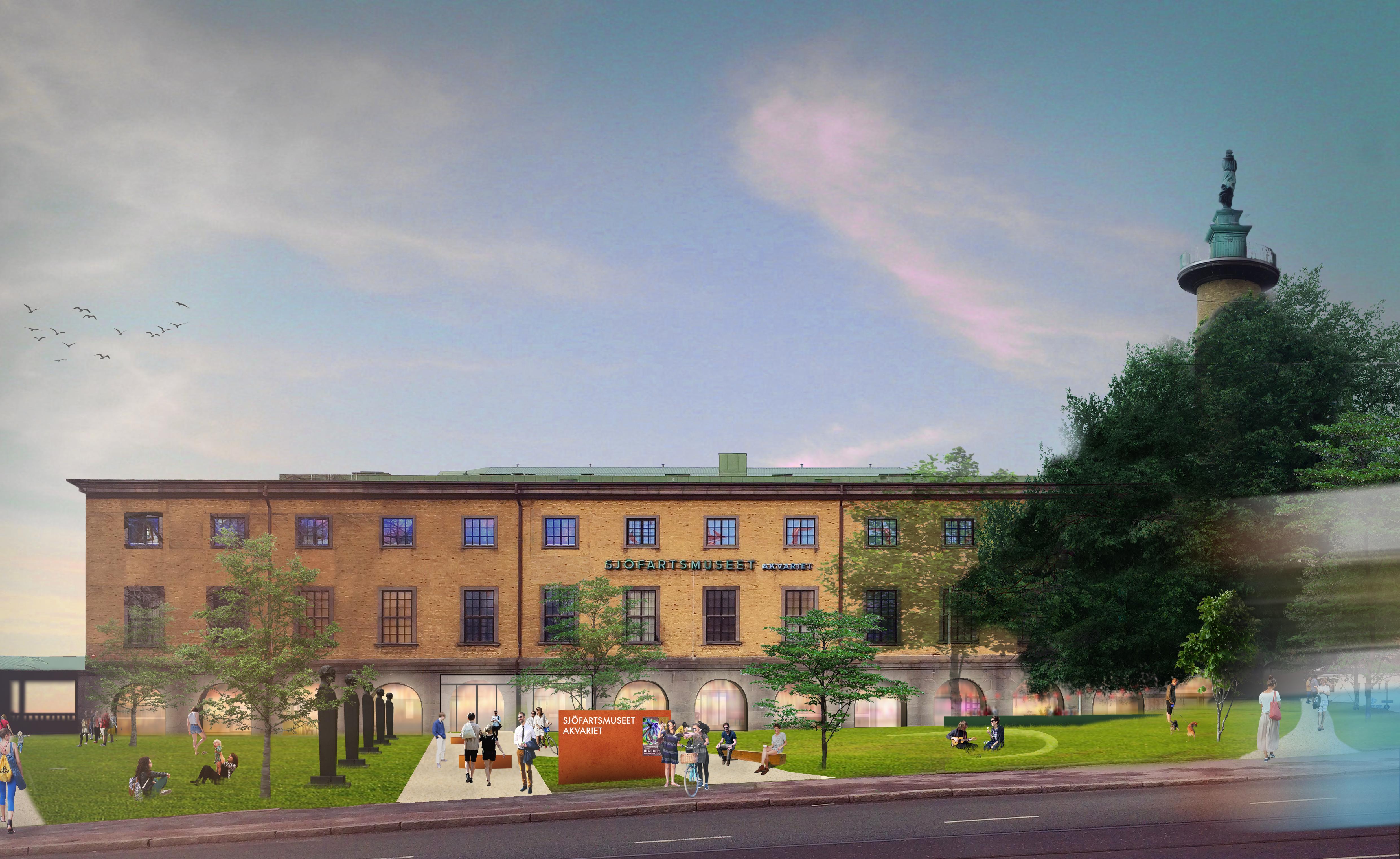 Visionsbild av det ombyggda Sjöfartsmuseet med nytt akvarie framför