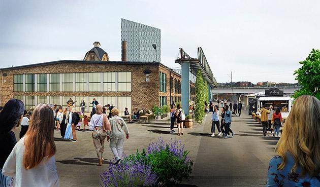 Visionsbild Slakthuset med folk i rörelse och Gamlestads torg i bakgrunden
