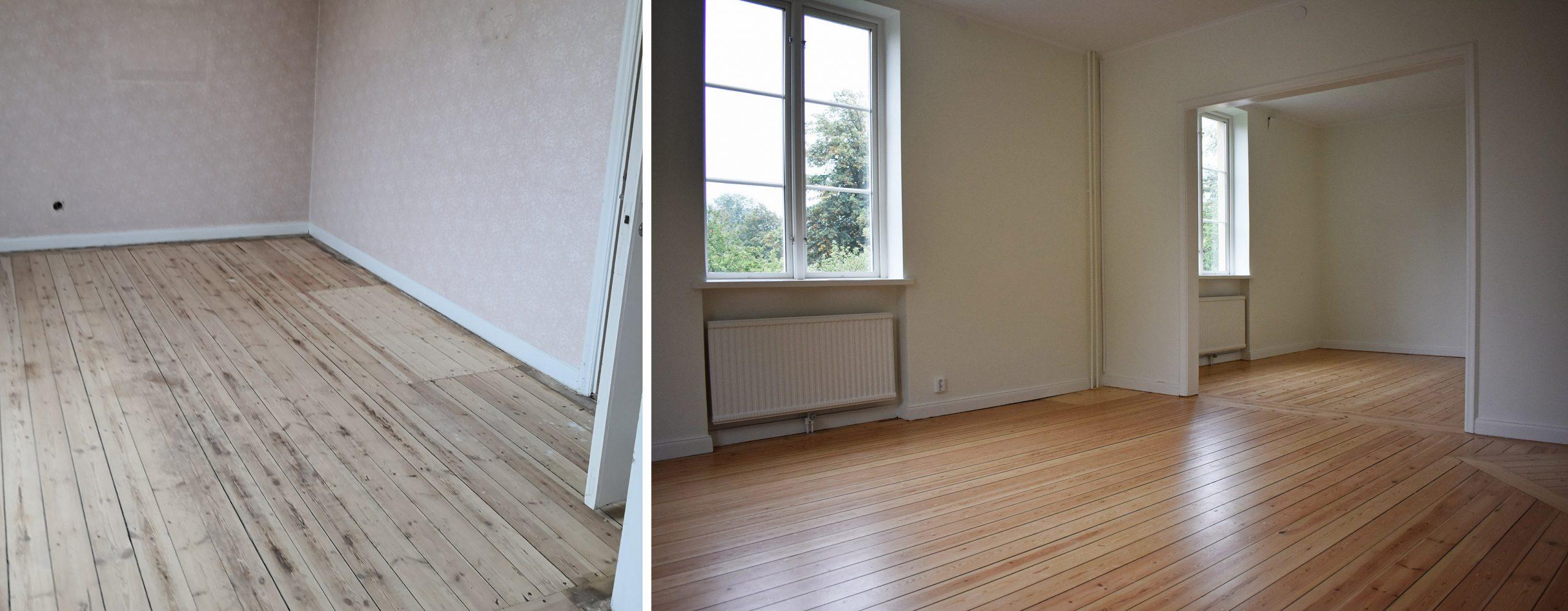 Vardagsrum före och efter renovering.