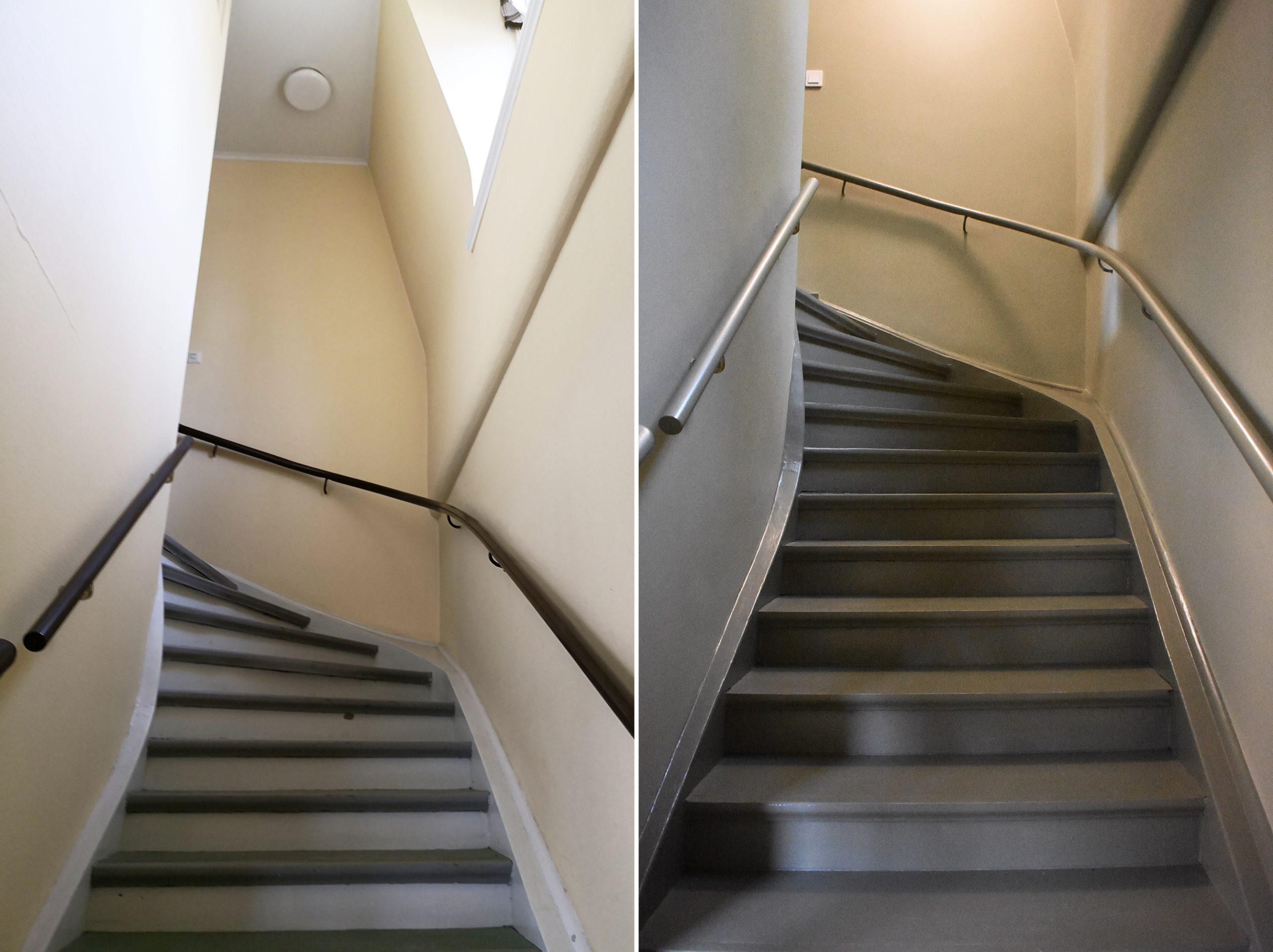 Trätrappa före och efter renovering.