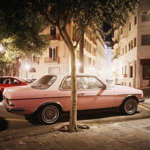 Rosa bild står parkerad vid träd.